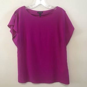 Escada Sz 38 Fuchsia Pink Silk Blouse Open Sleeve